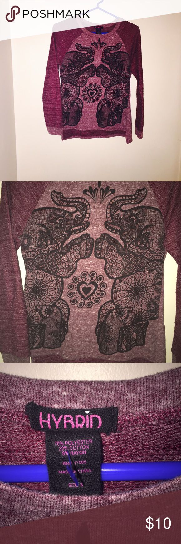 Light elephant sweater Like new and comes with a free gift! hybrid Sweaters Crew & Scoop Necks