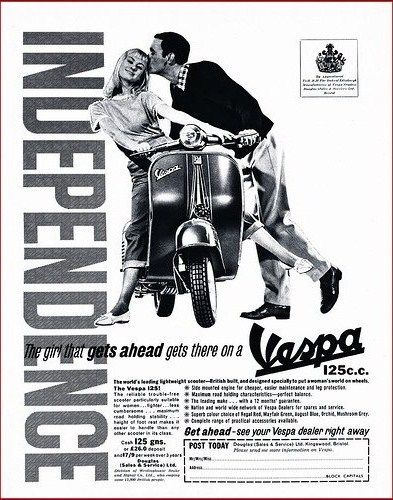 "ad: ""the girl that gets ahead gets there on a Vespa"""