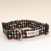MR MYLO navy,red and white dogtooth collar