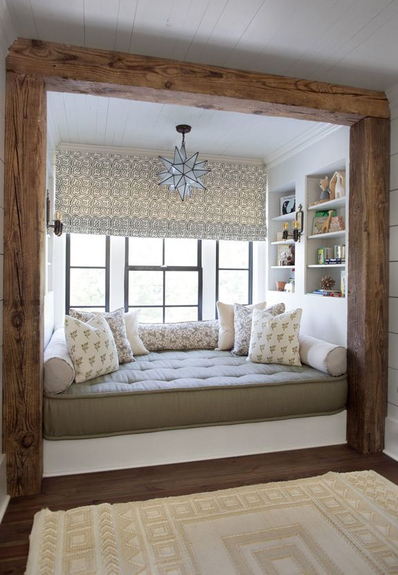 layer window treatments and built in bookshelf. would add storage underneath