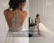 elegante halter zien door rits terug trouwjurk 2016 kristal kralen pailletten tule trouwjurken bruids jurk(China (Mainland))