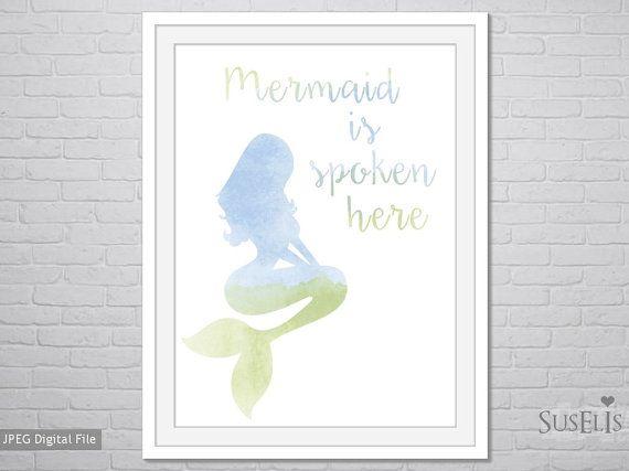 Mermaid Printable  mermaid print  Watercolor  Wall Art  by Suselis