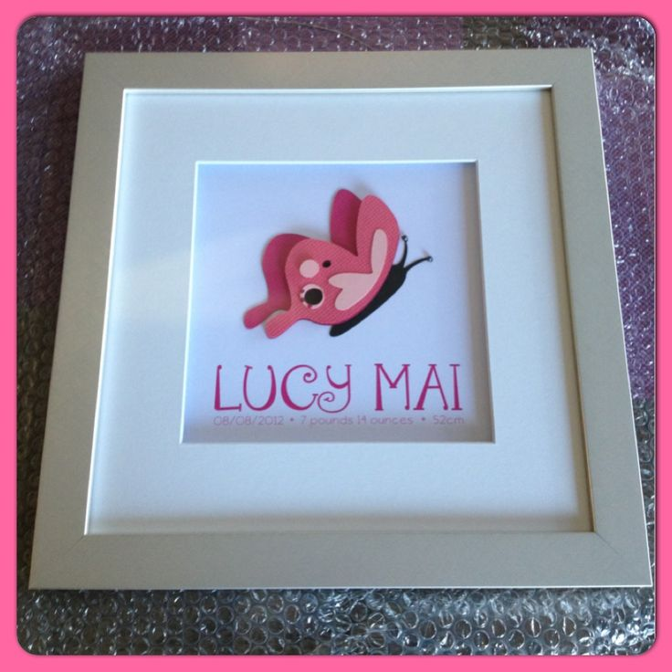 Pink butterfly birth details frame   www.facebook.com/littleowlcreations12