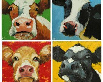 Rinder Kuh Gemälde Drucke signierten und von ARTISTPIXI auf Etsy