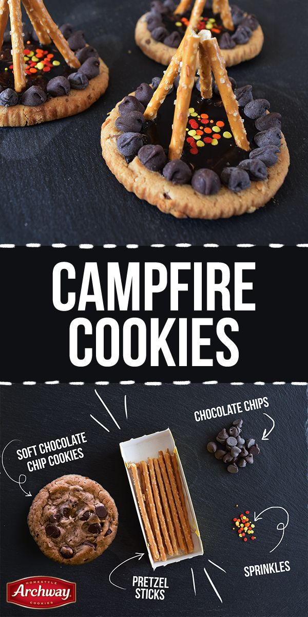 """The perfect campfire is made in your kitchen! These oh-so-easy campfire cookies combine the sweet, salty, and crunchy flavors you love. Summer camping made right! You'll need: Archway® Soft Chocolate Chip cookies, chocolate chips, pretzel rods, sprinkles. Instructions: Melt chocolate chips, coat top of Soft Chocolate Chip cookies with the melted chocolate. Line edges of the cookies with morsels to create a """"fire pit"""". Add sprinkles in fire pit. Create a teepee with the pretzel rods. Enjoy!"""