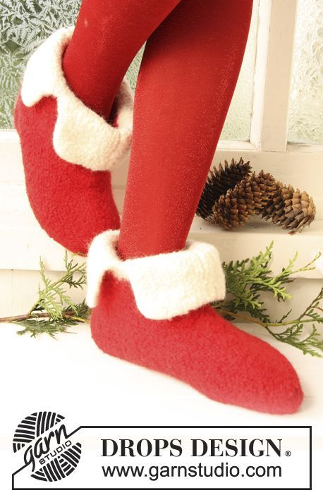 "DROPS felted slippers for Christmas in ""Eskimo"". Size 21 to 48. ~ DROPS Design"