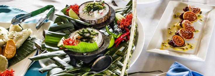 Kokoda fish, tropical fruit tarts