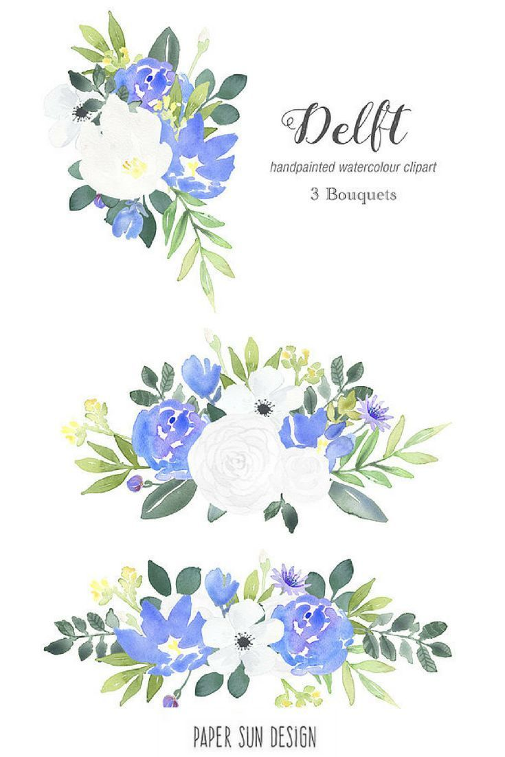 Blue And White Watercolour Flowers Combine In This Delft Inspired
