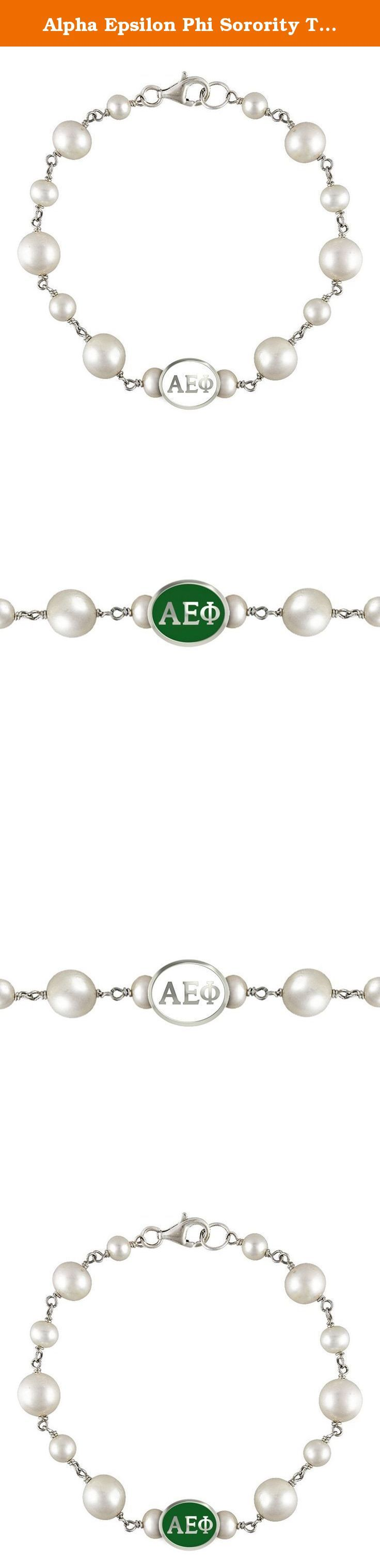 Alpha Epsilon Phi Sorority Tin Cup Pearl Charm Bracelet. Swarovski Pearls and Sterling Silver Beads are combined to create our Alpha Epsilon Phi Sorority Tin Cup Pearl Bracelet. The bead is cast in solid sterling silver and hand finished to achieve maximum detail. The pearls are Swarovski glass pearls with a bright semi-gloss surface. Made in the U.S.A.
