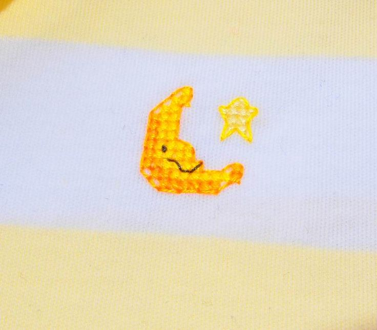 Smiley Moon Yellow and White size 00 jumpsuit $18.95 Suit is stitched with sweet little smiley faced moon and a star to keep him company!  Cotton, low fire danger. to fit height 68cms and weight 8 kg