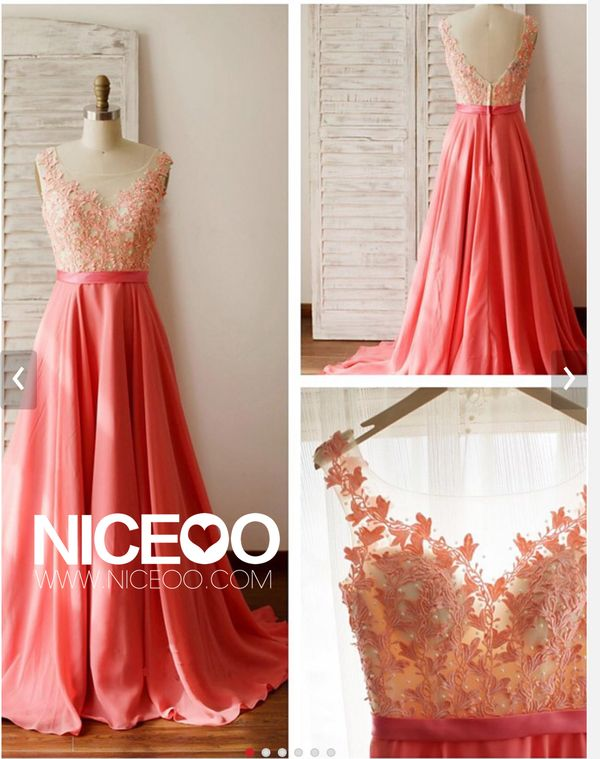 coral A line princess V Neck Sweep Train chiffon prom dresses with beading    #promdress #formaldress #eveningdress #prom #dress http://niceoo.com/products/16475238-coral-a-line-princess-v-neck-sweep-train-chiffon-prom-dresses-with-beading
