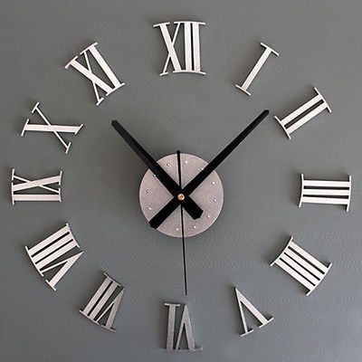 New Chic DIY Adhesive Silver Vintage Roman Numeral Number Wall Clock 3D Living in Home & Garden, Home Décor, Clocks | eBay