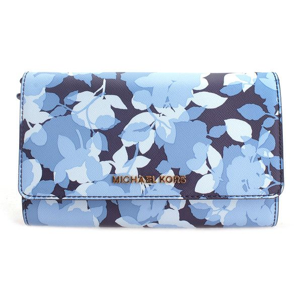 0929a8f8681b2 Michael Kors Navy Floral Jet Set Travel Leather Convertible Wallet ( 170) ❤  liked on Polyvore featuring bags