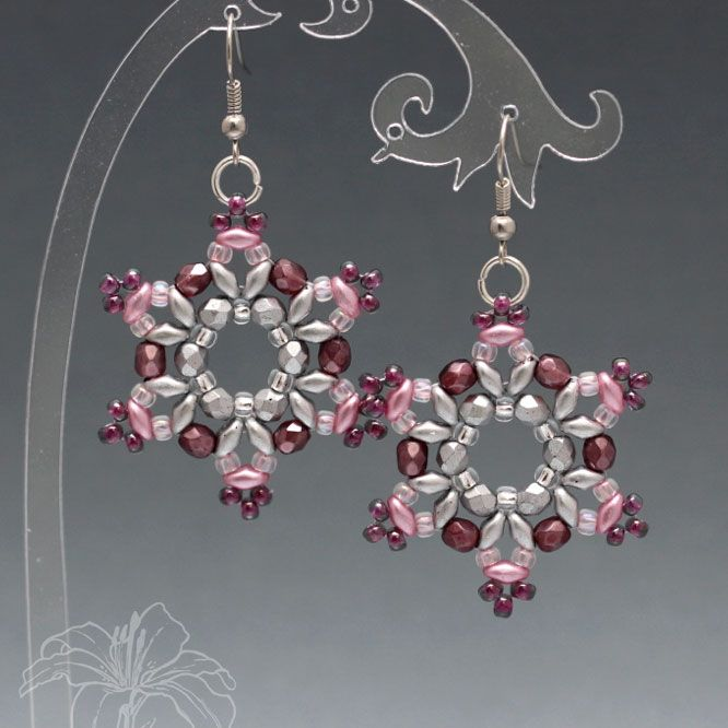 Earrings Snowflake Stitched earrings in the shape of snowflakes are made of two-hole SuperDuo, polished beads and Japanese Toho seed beads. Hook of non-toxic jewelry metal. Flake diameter: 3.8 cm This is the author's jewelry copying is strictly prohibited!