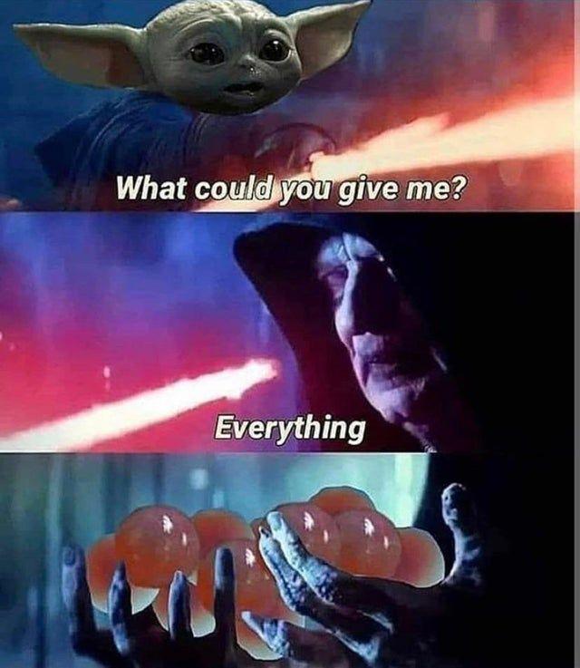One Year Ago Baby Yoda Was All About The Chicken Nuggies Babyyoda Star Wars Jokes Star Wars Memes Star Wars Humor