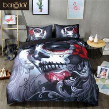 Starting At $35.75 Style Bed Sheet Queen King Double Bed Linen Cotton Blend Flower Skull Duvet Cover Set