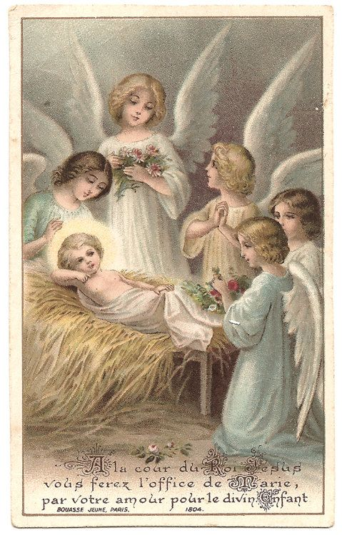 Angels Amp Baby Jesus In Manger Christmas Antique French