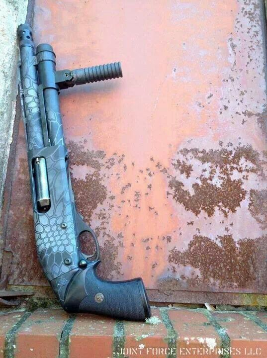 Pistol grip shotgun. You can sleep well knowing no one want to mess with this thing