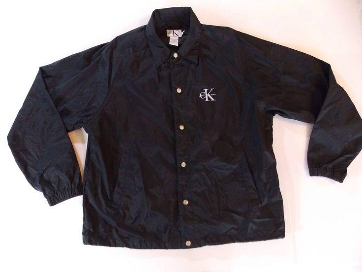 Large Mens Black Calvin Klein CK Jeans Jacket Coat Nylon Light Wind Rain T1 #CalvinKleinJeans #BasicJacket