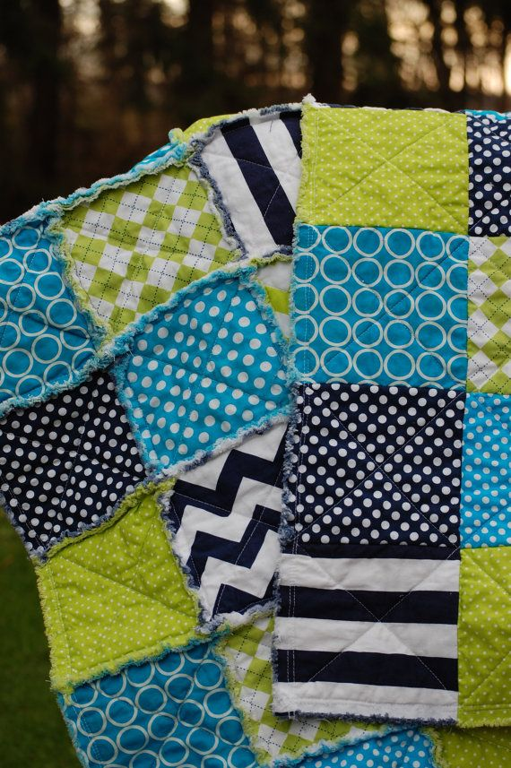Little Boy Rag Quilt  Perfect Stroller Blanket  by ModernThreads1