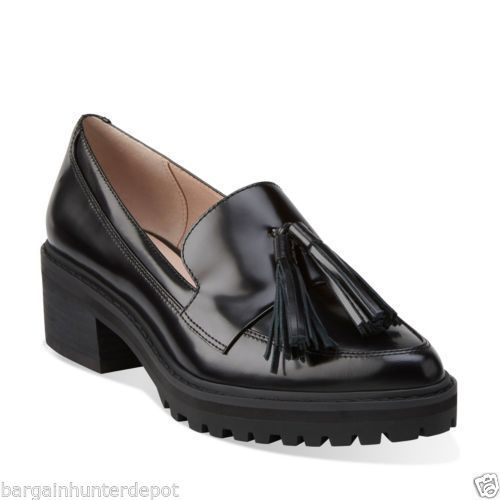 Clarks-Womens-Anniston-Vale-Loafers-Black-Combi-Leather-Dress-Shoe-26110689