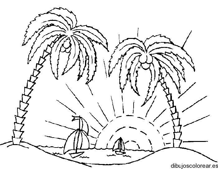 Dibujos Para Colorear De Palmeras En La Playa Coloring Pages Coloring Pages Nature Sun Coloring Pages