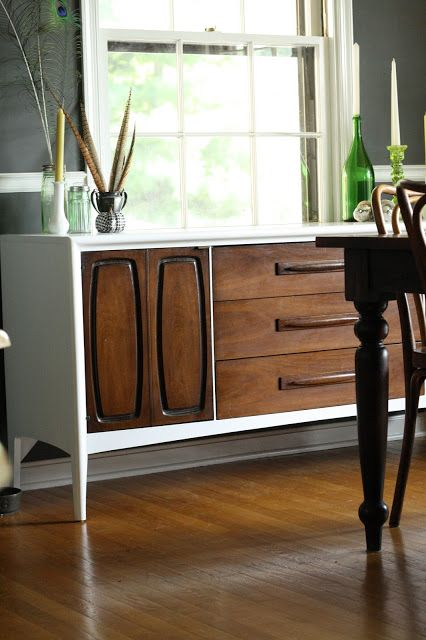 Two Toned Midcentury Modern Sideboard - beautiful! I'd have a hard time painting a perfectly good piece, but if it wasn't in such good condition, this is an excellent option.