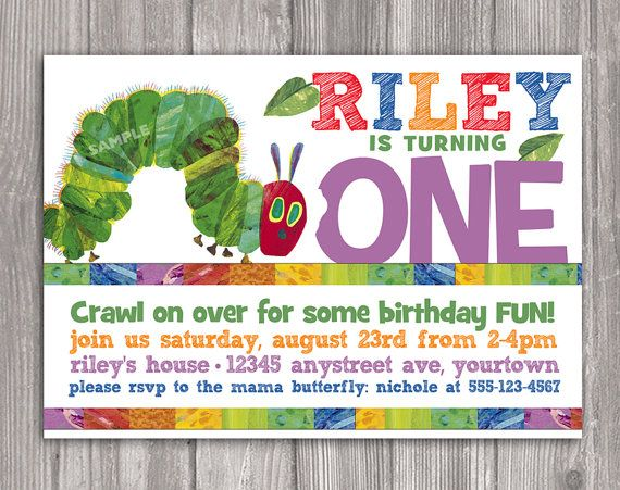 25 best ideas about Hungry caterpillar invitations – Very Hungry Caterpillar Party Invitations