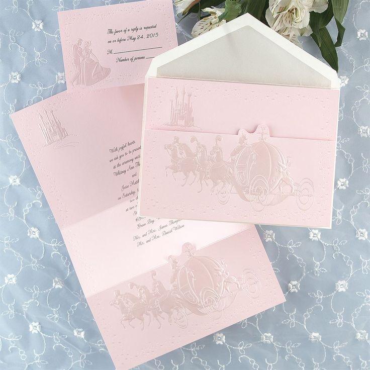 disney dreams come true in pink invitation - Disney Themed Wedding Invitations