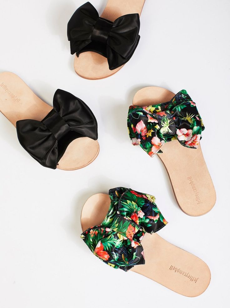 Bow Tie Slip On Sandal   Simple slide sandals get a femme update with these sweet slip-ons featuring a beautiful bow detail.