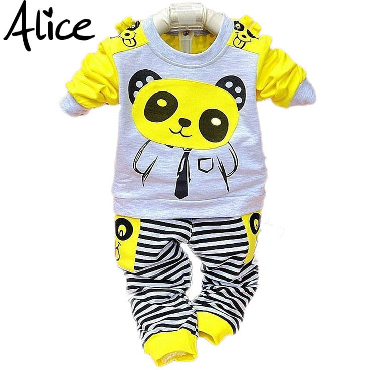 Girls and boys suit baby panda cartoon casual long-sleeved striped t-shirt + pants 2pcs / set Kids Set Free Shipping