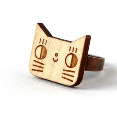 Bague chat en bois gravé au laser