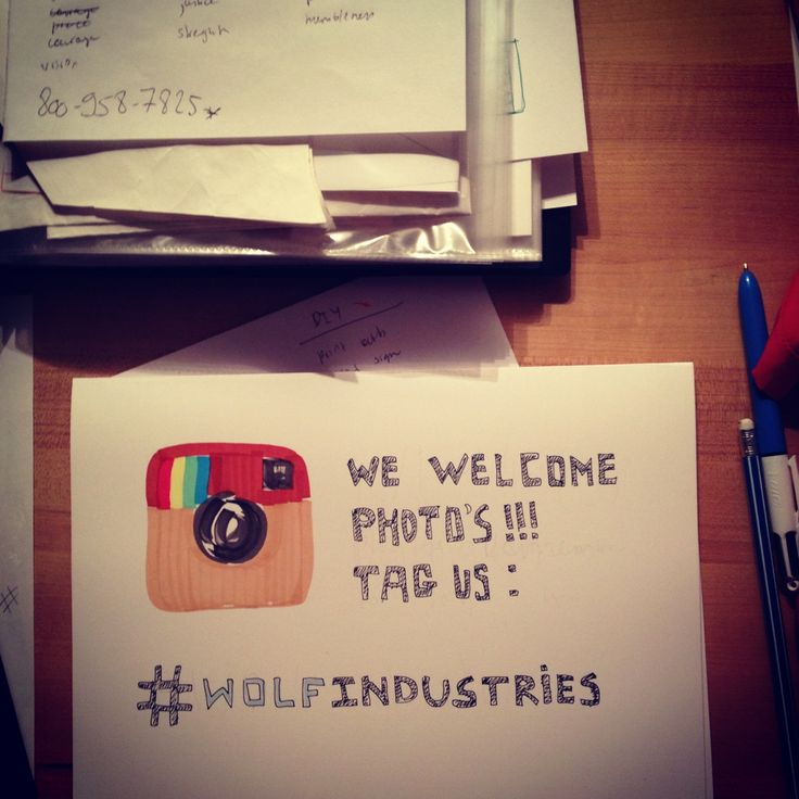 Craft fair table sign for sharing Instagram pictures #WolfIndustries