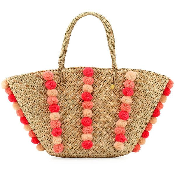 Seafolly Carried Away Pom-Pom Beach Basket (1 350 ZAR) ❤ liked on Polyvore featuring bags, handbags, tote bags, beach bag, natural, beach purse, white beach tote, tote purses and beach tote bags