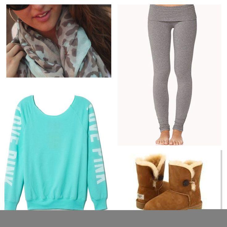 Aqua love pink sweatshirt, grey leggings, chestnut uggs