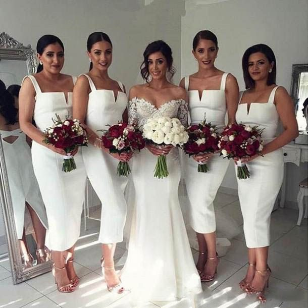 >> Click to Buy << Tea Length Bridesmaid Dresses Plus Size Short Maid of Honor Dress for Weddings Cheap White Wedding Guest Dress Abendkleider #Affiliate