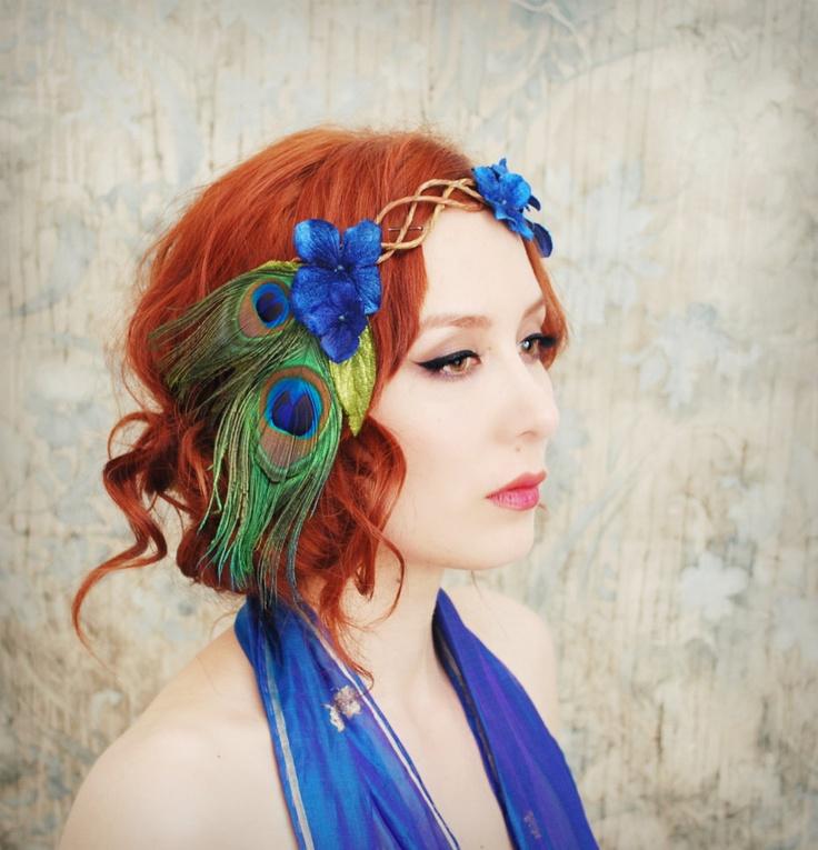 Peacock crown, velvet flower head piece, floral wreath, hair accessories -  Daenerys. $57.00, via Etsy.