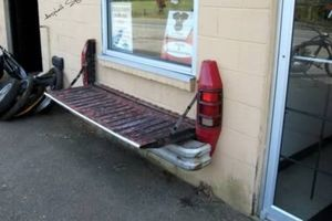 For more clever seating that doesn't require tires, use the rear bumper and tailgate of a truck to fashion a fold-out bench.