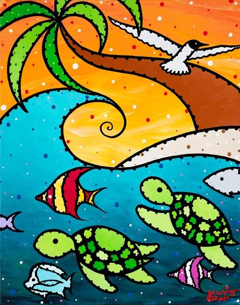 Turtle Wave Art Print by Ed King Pop Art | Society6