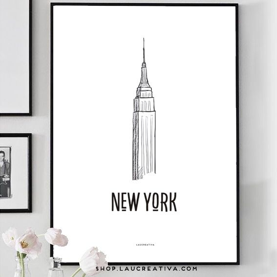 Lámina de Nueva York con el Empire State Building en La Chachitienda. http://shop.laucreativa.com/product/laminas-viajeras-barcelona-paris-london-rome-new-york-y-moscov