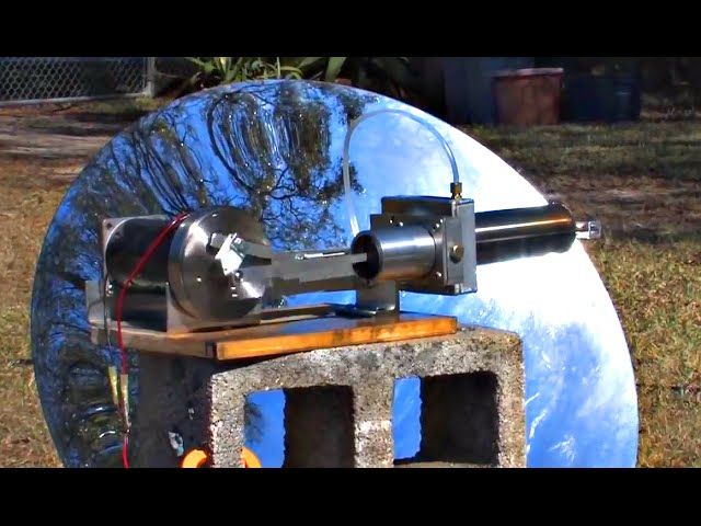 Portable electric generators are usually gas or diesel-powered, they are noisy, they produce nasty exhaust fumes and the cost of running one of those is quite high compared with the price of grid electricity. But all of those could change thanks to the Stirling Engine generator. Watch how this test prototype gets its power from the sun thanks to a large parabolic mirror.