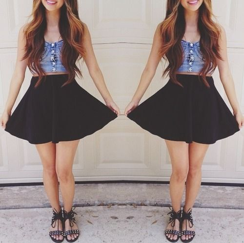sandals high waisted skirt crop top