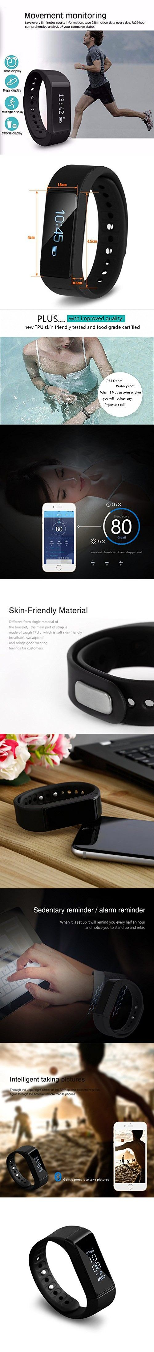 Activity Tracker LESHP I5 Plus Fitness Wristbands Tracker Waterproof Smart Bracelet Bluetooth 4.0 Wireless Activity Wristband for iPhone Android Phone