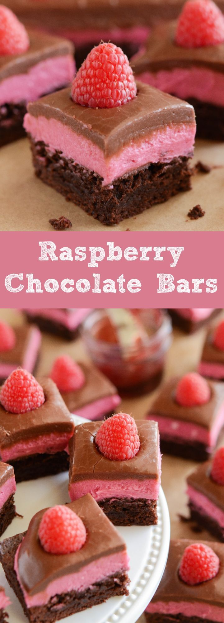 Raspberry Chocolate Bars! Layer of delicious brownie, raspberry cream and easy chocolate ganache!