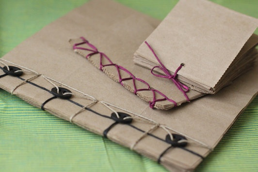 Looking for a way to upcycle paper grocery bags? Make these fantastic little books for notes, journaling, or sketching. Designer Smitha Katti shares this earth-friendly project that could be a great project to do with kids.