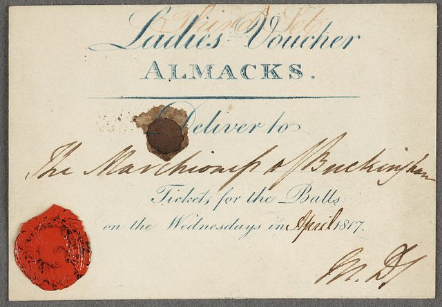 Almacks voucher with seal ---- we need to re-create these if we ever have a very fancy ball