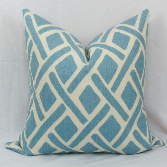 Light blue trellis pillow cover. Kravet Treads pillow cover. 18