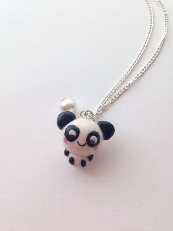 Kawaii Panda Necklace Handmade Polymer Clay by CharminglyKitsch, £5.50