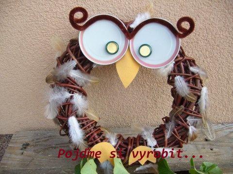 Soví věnec - kreativní sada dekorace děti věnec věneček sova sovička na dveře…
