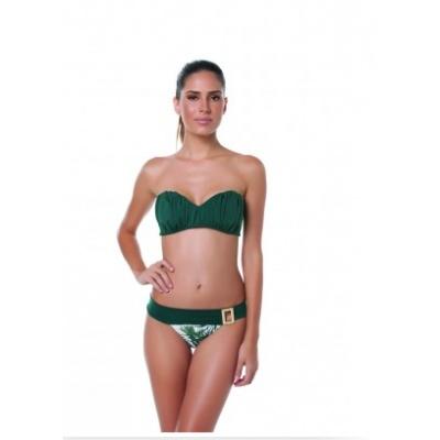 MAILLOT DE BAIN PALM GROVE Maillot de bain au style tropical bandeau vert plissé très chic. Bas brésilien avec boucle métallique sur le côté.  http://www.viva-playa.fr/maillot-de-bain-palm-grove-p-1121.html
